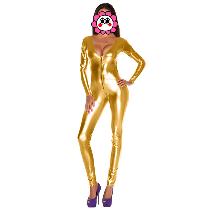 Blue Gold Sexy Shiny Cat Suit Women Silver Metallic Unitard Tight Suit Lycra Spandex Bodysuit Zipper Long Sleeve Catsuits