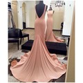 Elegant Pink Scoop Mermaid Ruffles Prom Dresses 2017 Deep V Back Long Sweep Train Evening Party Gowns Vestido Longo