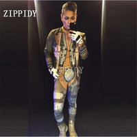 Big Stretch Printed Tattoo Sexy Men's Jumpsuit Jacket Outfit Nightclub Prom Singer Performance Rompers Stage Wear Costume Sets
