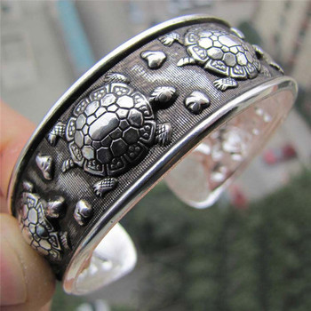 Antique Silver Plated Tibetan Turtle Shaped Bracelets Women Cuff Bracelet Bangle Adjustable Jewelry