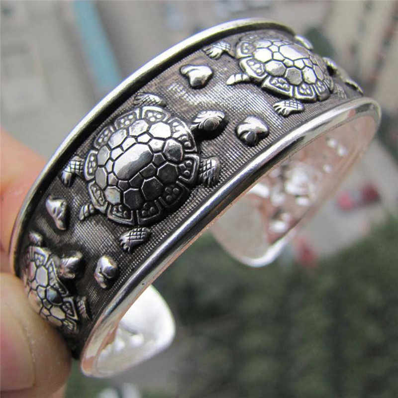 Antique   Tibetan Turtle Shaped Bracelets Women Cuff Bracelet Bangle Adjustable Jewelry