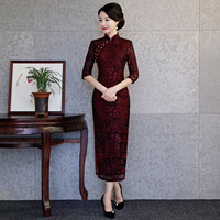 New Spring Chinese Lady Lace Wedding Cheongsam Red Traditional Dress Long Qipao Vintage Party Dresses Vestido Oriental Qi Pao