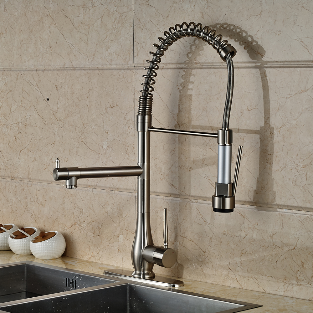 Nickel Brushed Deck Mounted Kitchen Sink Faucet 360 Degree Rotation Pull Out Mixer Tap with Cover Plate pull out kitchen faucets brushed nickel sink mixer tap 360 degree rotatable torneira cozinha mixer taps