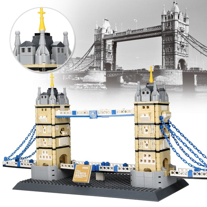 World Famous Architecture Landmark Tower Bridge of London Building Blocks Construction Brick DIY kids toys children