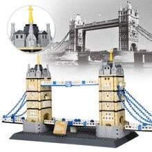 Международно известная архитектура ориентир Тауэрский мост в вывеска Лондонское здание блоки, игрушечные строительные кирпичики, детские игрушки «сделай сам» для детей, подарок