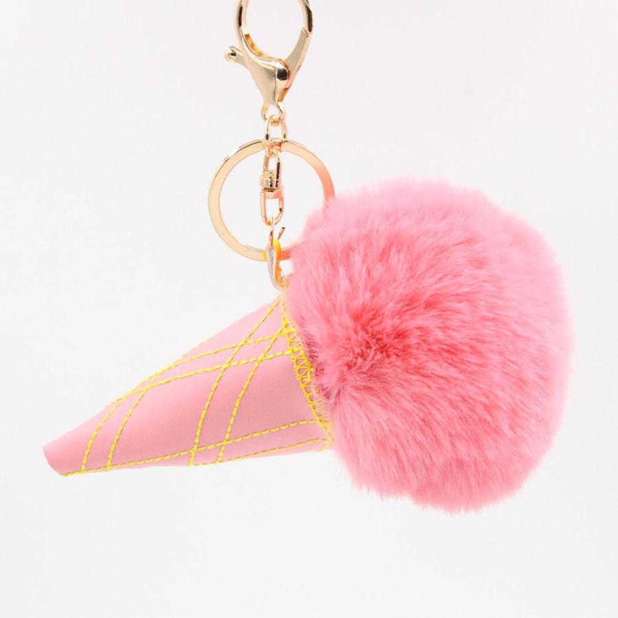 Jewelry Sets & More Guanya Ice Cream Cone Style Big Faux Leather 8cm Rabbit Fur Pompom Ball Key Chain Bag Handbag Purse Pendant For Women
