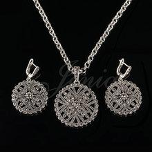 Jenia antiguo marcasita plata joyería de la flor colgante redondo collar y pendiente Sets para para XS195