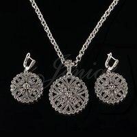 Jenia màu bạc cổ marcasit hoa trang sức set vòng pendant necklace và earring đặt đối với phụ nữ xs195