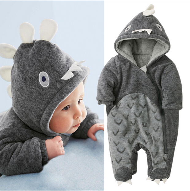 New Fashion Dinosaur Style Baby Romper Winter Thick Warm Hooded Jumpsuit Cotton Newborn Boy Clothes
