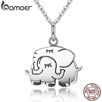 75821f4f8ac5 BAMOER DUMBO y la señora collares colgantes JUMBO Plata de Ley 925 lindo  elefante abrazo mujeres S925 joyería para regalo de madre SCN065