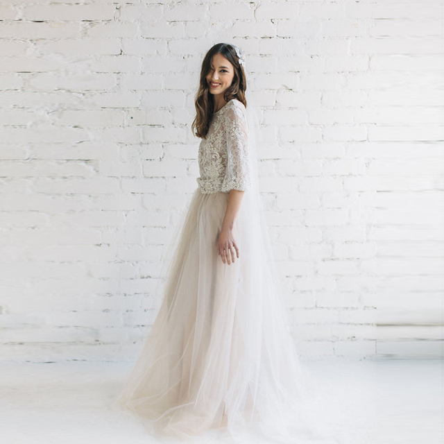 Wedding Skirt Bridal Tulle Skirt Puff Solid Mesh Long Maxi Skirt with Train Ball  Gown Nude Champagne Tulle Tutu Custom Made 0f42dcef1c6c