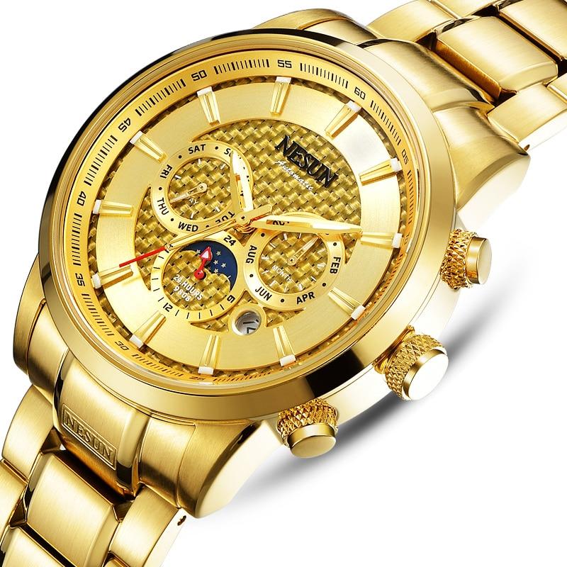 Switzerland Luxury Brand NESUN Watches Men Multifunctional Display Automatic Watch Luminous Waterproof clock N9808-4Switzerland Luxury Brand NESUN Watches Men Multifunctional Display Automatic Watch Luminous Waterproof clock N9808-4