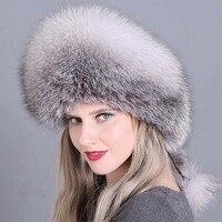 Russian Winter Women Hat Fox Fur Pompom Beanie PU Leather Top Skullie Lady Fashion Wool Knitting Headwear Warm Cotton Cap