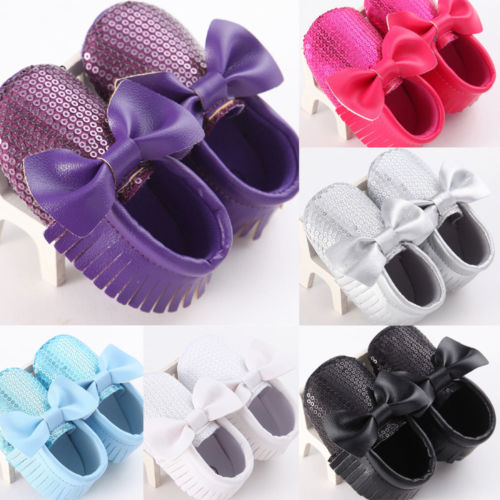 5 Color Bling Sequins Newborn Baby Girls Soft Sole Crib Shoe Sneakers For 0-18M