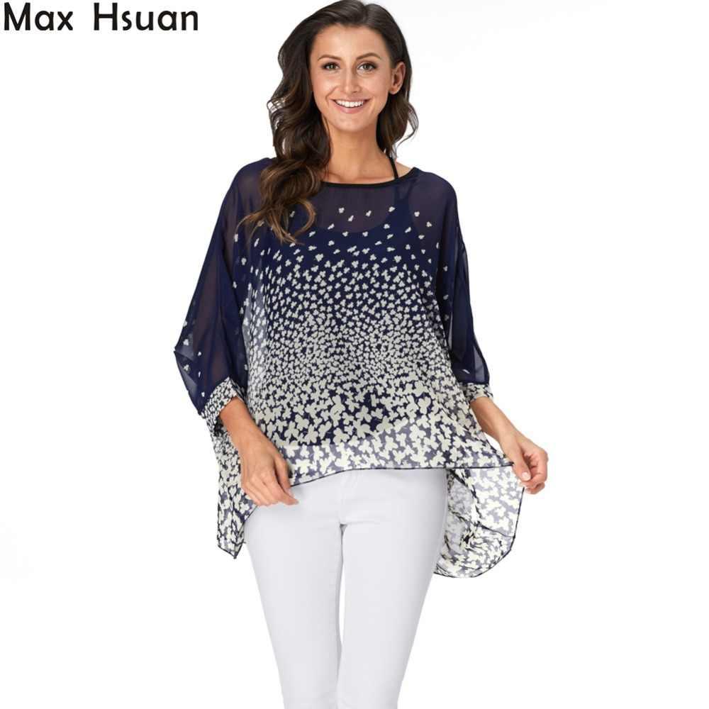 ca6af3125a Max Hsuan Womens Boho Sheer Chiffon Blouses Floral Print Shirts Batwing  Sleeve Casual Loose Summer Blouse