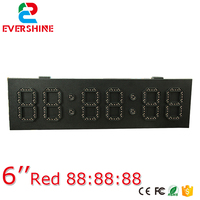 6'' high brightness red 6 digit 7 segment outdoor clock panel gas station led price sign