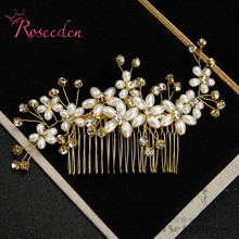 Simulated Pearl rhinestone hair ornament Bridal Headpiece wedding accessories Floral Hair Comb Head Pieces RE709