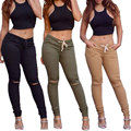 Mejor la venta de Europa y los Estados Unidos bajo la cintura con cobre roto pantalones de moda de alta elástico mujeres pantalones de ocio