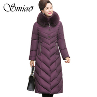 Smiao Big Fur Collar Winter Coat Women Thick Parka Plus Size 5XL Long Winter Cotton Down Jacket Female Ladies Outwear For Mom