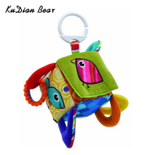 KUDIAN BEAR Early Educational Mobile Baby Toy Bird Square Plush Block Clutch Cube Rattles Baby Toys 0-12 Months BYC006 PT49