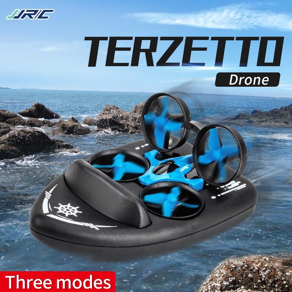 JJRC Novo Mini Triphibian Água Barco De Corrida Multi-Versão bateria Zangão Helicóptero Quadcopter Rc Brinquedo Para O Miúdo Presente H36upgrade h36f
