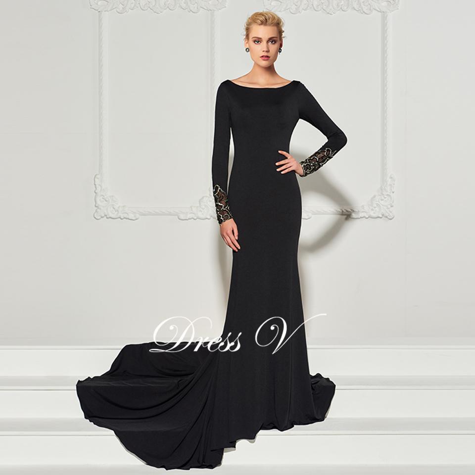 c8646720d2 Dressv czarna długa suknia wycięciem sąd pociąg długie rękawy mermaid  wedding party formalna suknia. trąbka suknie wieczorowe ...