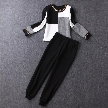 Twinset Mujeres Pantalón y Top 2016 Otoño Invierno Runway Marca de Negro blanco Rebordear Plaid Blusa de Manga Larga + Pants de la Moda 4050