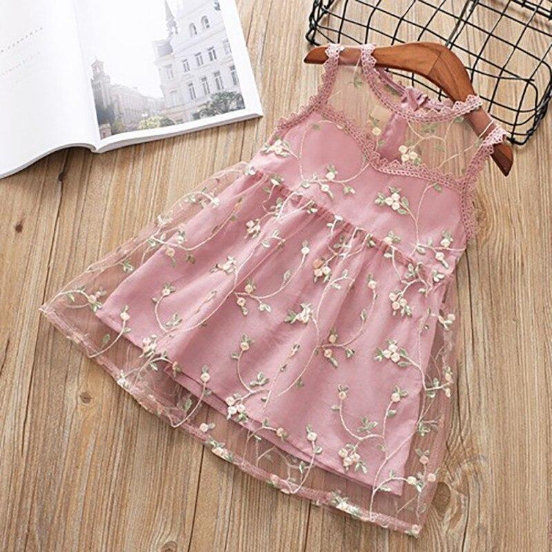 2019 Baby Girls Dress Flower Lace Hollow Princess Kids Dresses for Girl Princess Summer Girls Party Children Clothing