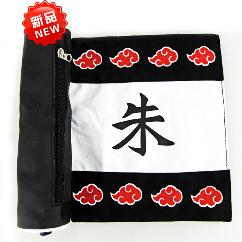 9.8/25cm Canvas Scroll Bag With Anime NARUTO Shippuden Uchiha Itachi Uchiha Sasuke Red Cloud Mark