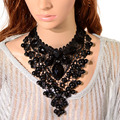Black Lace& Beads Choker Lace Necklace Fashion Europe Exaggerate Elegant Lady Big Chunky Statement Collar for Women