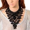 Black lace & beads choker lace moda colar europa exaggerate elegante lady big chunky declaração collar para as mulheres