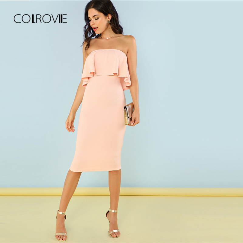 ba4d222e0bb COLROVIE Flounce Bandeau Pink Pencil Summer Dress 2018 New Elegant Ruffle  Women Dress Strapless Sleeveless Bodycon Party Dress-in Dresses from Women s  ...