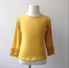 Chic Solid Icing Shirts Pure Yellow Color High Quality child Girls Triple Ruffle Clothing Round Neck Children Shirts