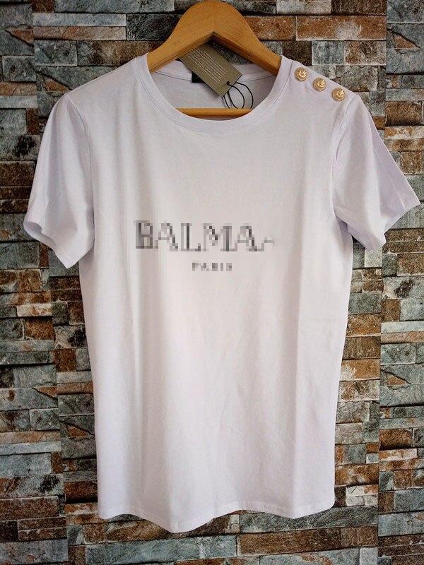 2019 brand new   t     shirts   Summer Gold Buckle Gilding Letter Full Cotton Lovers cotton   T     shirt   men best   shirt