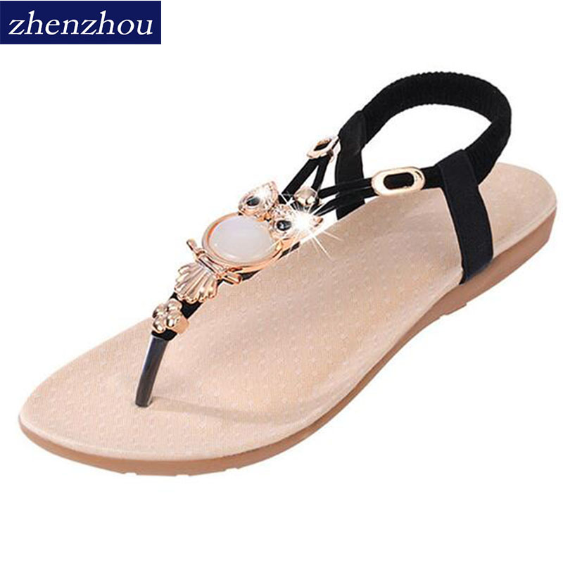 Free shipping Woman's shoes Sandals the new 2016 summer Bohemia toe flat to flat with large size foreign trade sandals female 2016 korean flat toe sandals are sparkling sandals