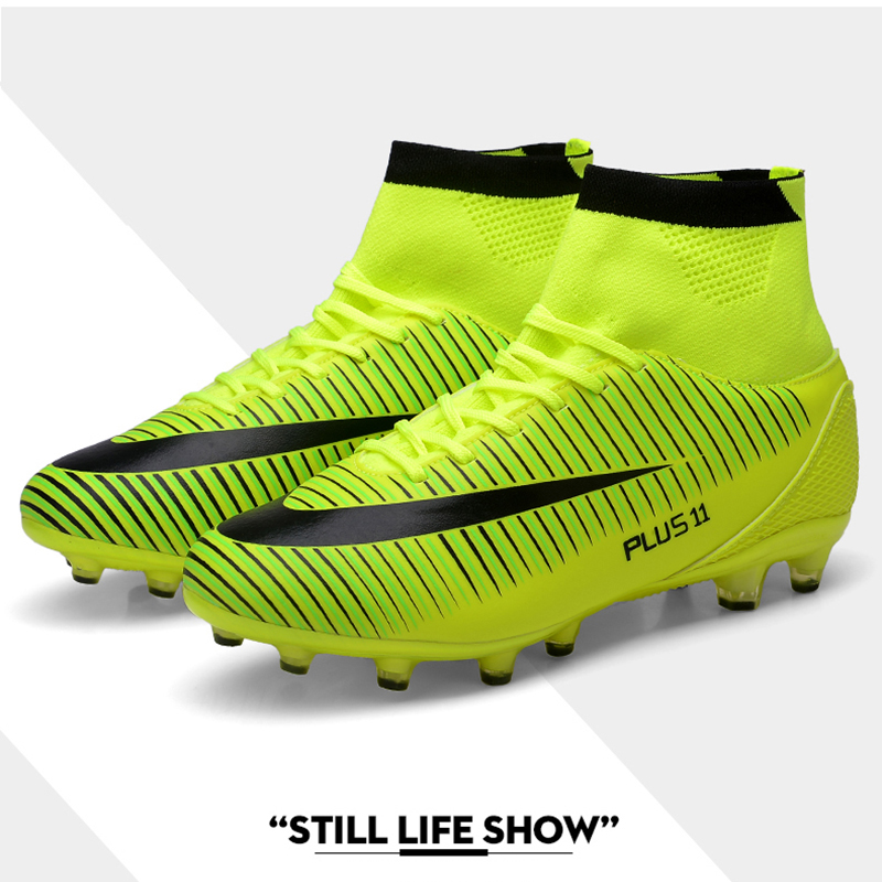 Soccer Shoes High Ankle Men Football Shoes FG/AG Long Spikes Training Football Boots Hard-wearing Cleats botas futbol nino tiebao soccer sport shoes football training shoes slip resistant broken nail professional sports soccer shoes