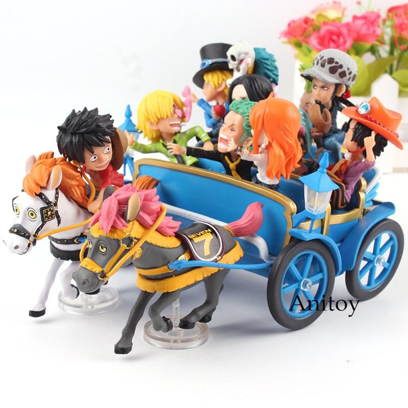 Anime One Piece 20th Anniversary Carriage Set Luffy Nami Zoro Sanji Chopper Ace Sabo Trafalgar Law Hancock PVC Figure Toys 9pcs set anime one piece pvc action figure luffy nami sanji zoro robin franky chopper brook usopp action figure model toys gift