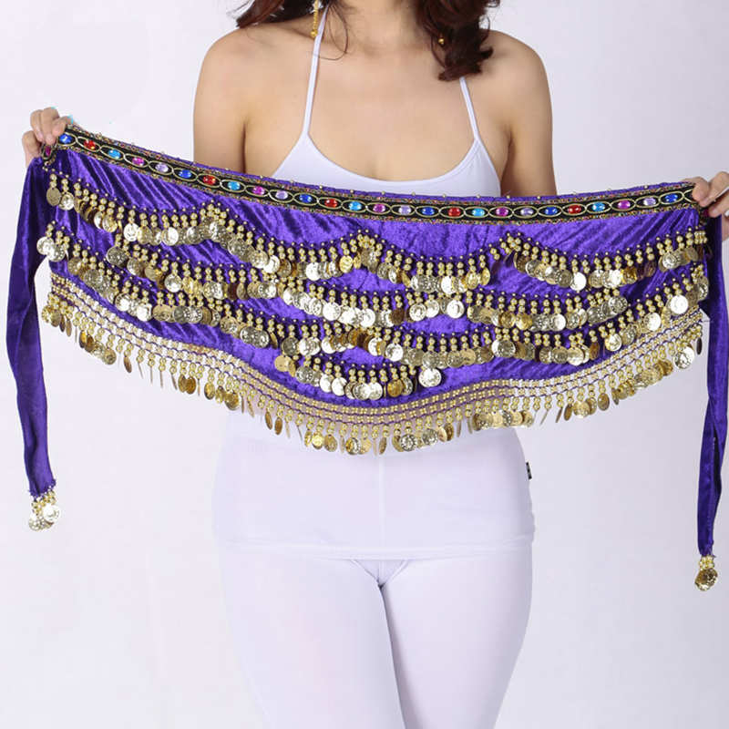 310 Coins Belly Dancing Waist Chain Color Diamond Sequins Tassel Hip Scarf Dance Performance Waistband Belly Dance Wrap Skirt