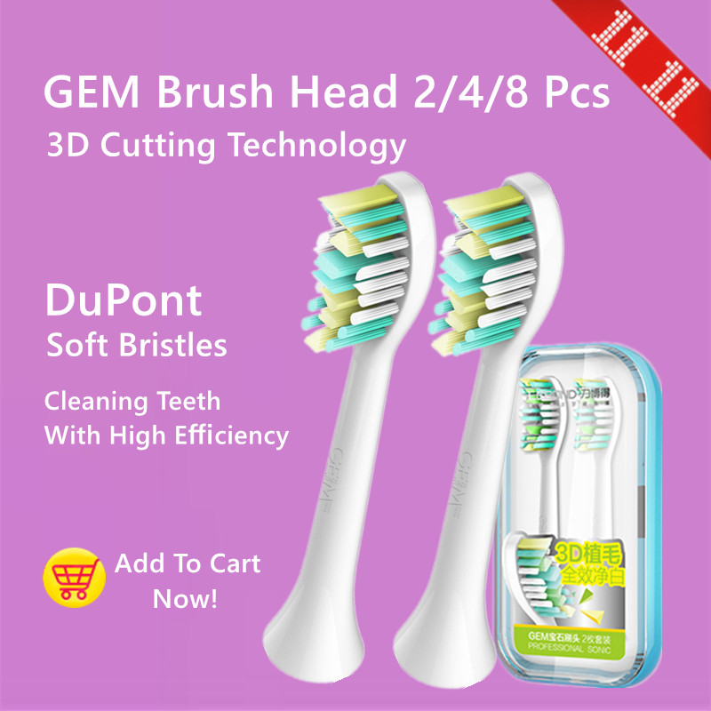 LEBOND Sonic Electric Toothbrush Heads GEM Series 2/4/8 Pcs For All LEBOND Adult Toothbrushes 2pcs philips sonicare replacement e series electric toothbrush head with cap