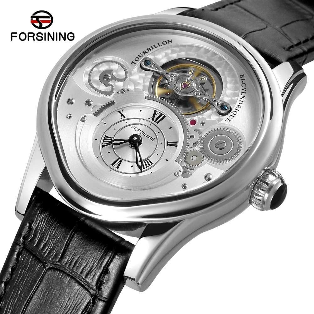 FORSINING Men's Top Brand Watches Automatic  Luxury Stainless Steel Case Genuine Leather Strap Men Clock Male Hombre FSG9422M3