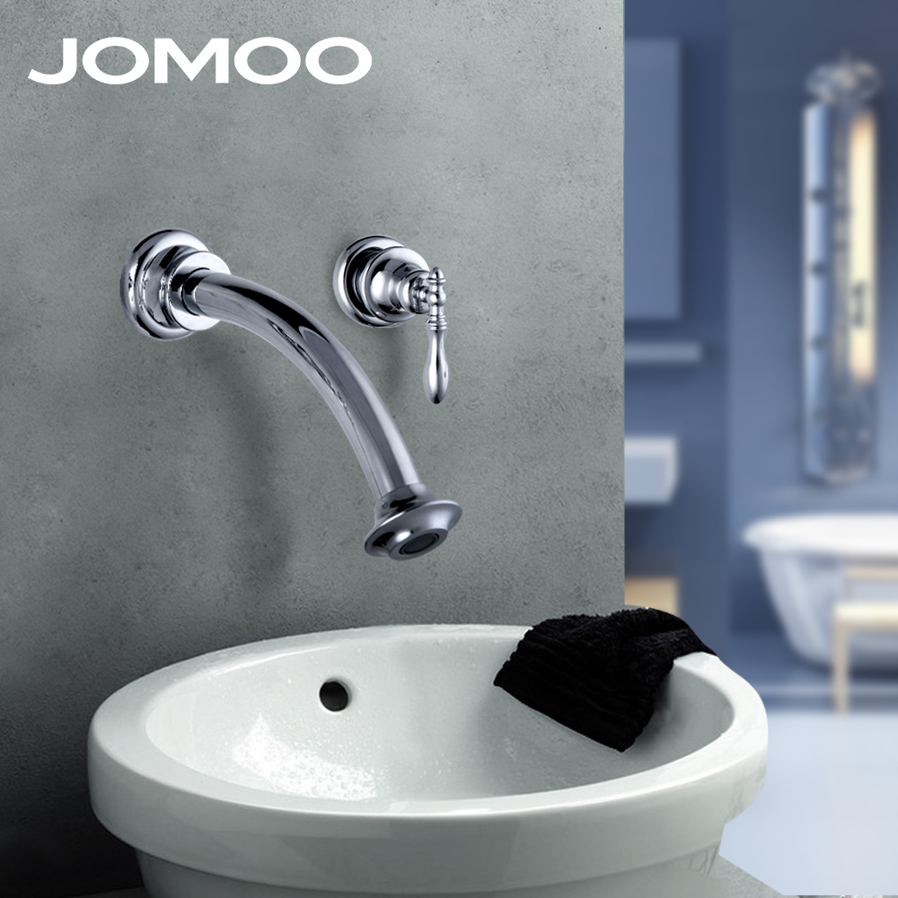JOMOO Wall Mounted Bathroom Basin faucet Brass Chrome Waterfall Spout Sink Vessel Faucet Mixer wall faucet free shipping gold clour wall mounted vessel sink faucet basin waterfall faucet
