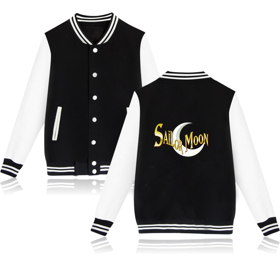 Women's Clothing Luckyfridayf Cartoon Capless Baseball Jacket Sweatshirt Women Hoodies Anime Sailor Moon Womens Hoodies Pullover Jacket Clothes Basic Jackets