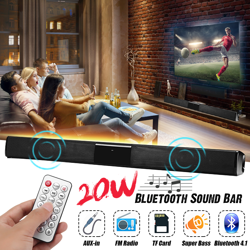 20W Wireless Bluetooth Speaker Soundbar HiFi Stereo FM Radio TF Card Aux-in Bass Speaker with Mic Homer Theater Speaker for TV hands free qi wireless charger stereo wireless bluetooth speaker clock fm bass speaker bluetooth nfc tf aux line in speaker