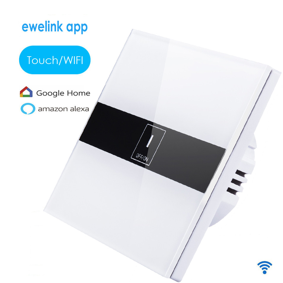 EU Standard eWelink app 1 Gang 1 way Wifi Control Switch via Android IOS,Wireless Control Light Touch Wall Switch for Smart Home sonoff t1 us smart touch wall switch 1 2 3 gang wifi 315 rf app remote smart home works with amazon free ios and app ewelink