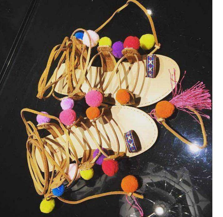 Ethnic Bohemian Summer Woman Pompom Sandals