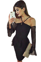 Adogirl Women Black Tulle Peplum Dress With Oversleeves 2016 Summer Lady Female Sexy Halterneck Mesh Mini