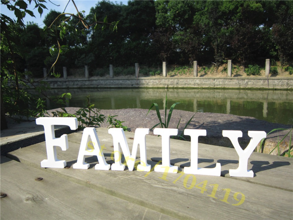 Beautiful Free Standing Artificial Wooden Wood White Letters Family