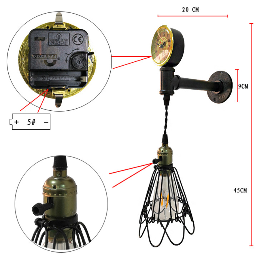 Retro iron water pipe decoration with clock wall lamp personalized Creative Birdcage wall Light for Restaurant Bar Coffee Shop in Wall Lamps from Lights Lighting