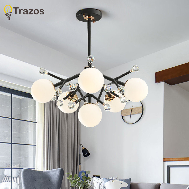 Modern Led Chandeliers Lighting Glass Suspended Lamps Luxury Deco Fixtures Living Room Pendant Luminaires Bedroom Hanging Lights Ceiling Lights & Fans Lights & Lighting