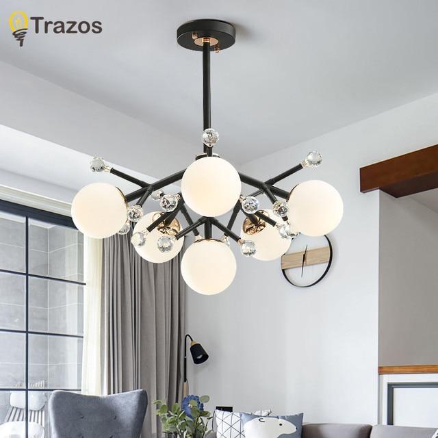 Nordic LED Crystal Chandeliers Light Fixture For Living room Bedroom Modern Pendant Chandelier Lamp suspension luminaire